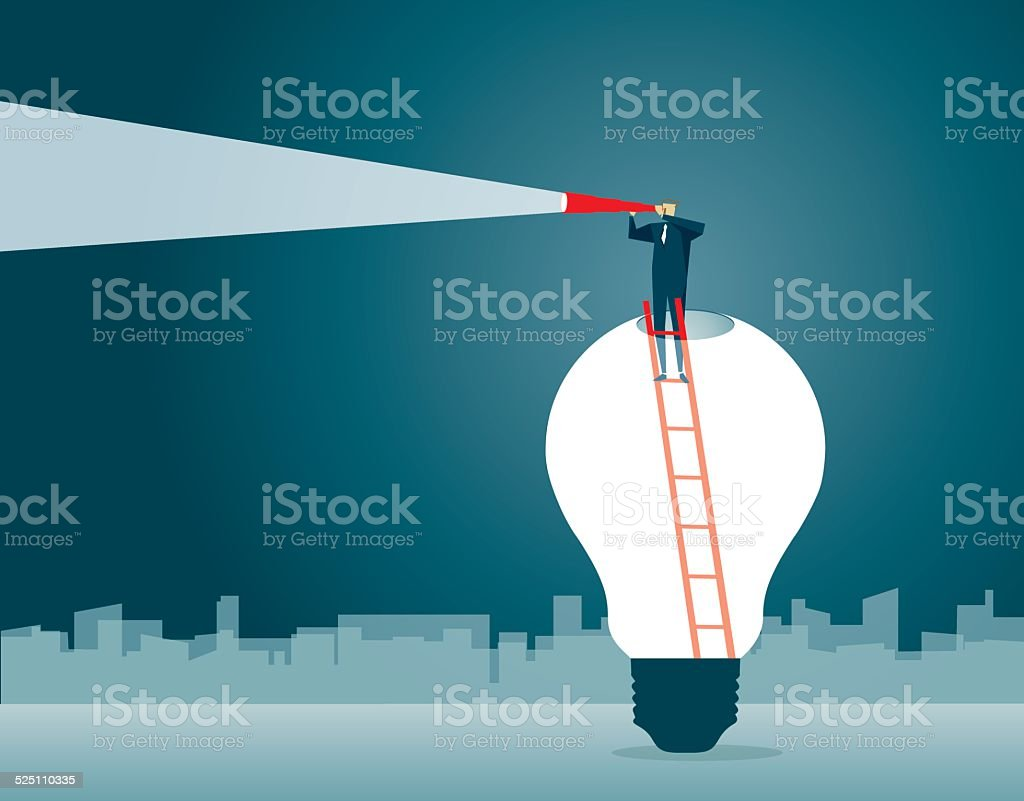 Discovery,Direction, Looking, Strategy,Solution, Light Bulb, Symbolize, Leadership vector art illustration