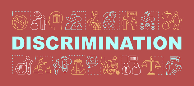 Discrimination word concepts banner. Human rights. Prejudice and inequality. Racism. Sex discrimination. Presentation, website. Isolated lettering typography idea, linear icons. Vector illustration