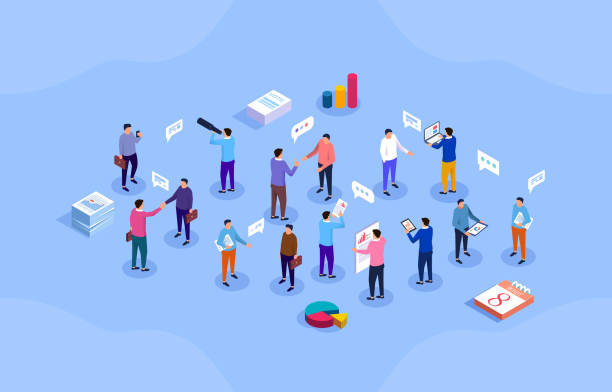 Discussing business people, socializing, isometric office life Discussing business people, socializing, isometric office life sales occupation stock illustrations