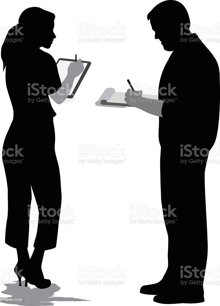 Discussing Ideas vector art illustration