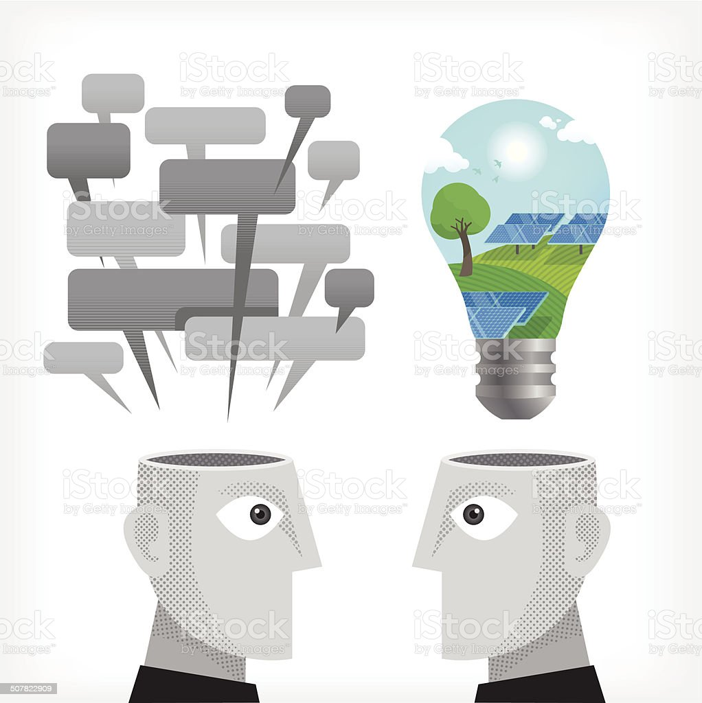 Discussing Sustainable energy royalty-free stock vector art