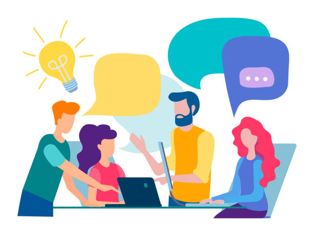 Discussion and communication in the office Discussion and communication in the office, teamwork, brainstorming. Vector illustration. collaboration stock illustrations