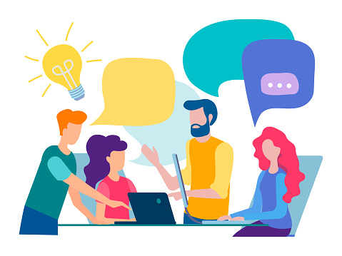 Discussion And Communication In The Office Stock Illustration - Download Image Now