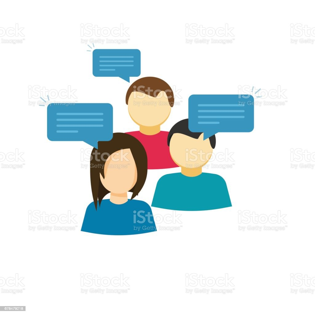 Discussion group vector illustration, flat cartoon style people talking, team dialog communication icon vector art illustration
