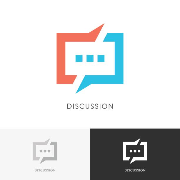 Discussion split symbol Discussion split - colored chat symbol. Conversation, dialogue and talk vector icon. debate stock illustrations