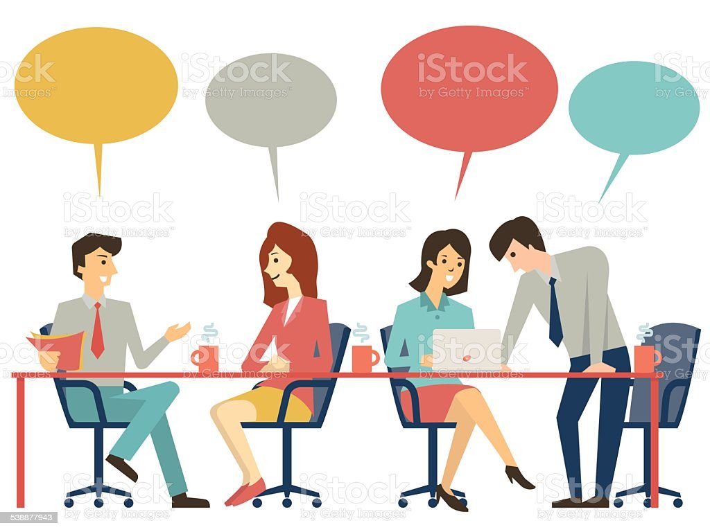 Discussion table vector art illustration