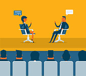 Press conferees business training concept. Two successful people character discussion. Trending class hall vector flat graphic design illustration