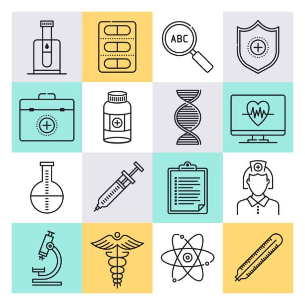 illustrazioni stock, clip art, cartoni animati e icone di tendenza di disease control & prevention outline style vector icon set - dose