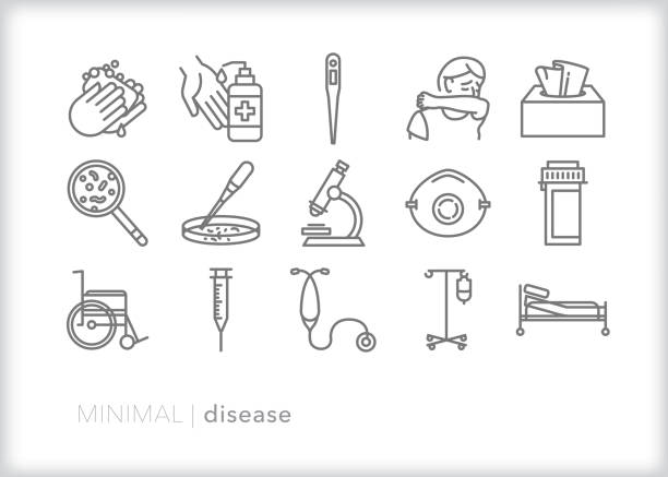 Disease, flu, cold and sickness line icon set Set of 15 disease line icons for how cold and flu spreads by cough and sneeze, as well icons for researching to develop a vaccine, hospital items, and hand washing covid icon stock illustrations