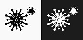 Disease Icon on Black and White Vector Backgrounds. This vector illustration includes two variations of the icon one in black on a light background on the left and another version in white on a dark background positioned on the right. The vector icon is simple yet elegant and can be used in a variety of ways including website or mobile application icon. This royalty free image is 100% vector based and all design elements can be scaled to any size.