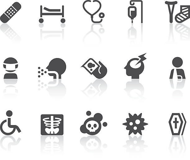 disease icons | simple black series - death stock illustrations