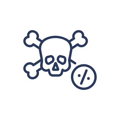 Disease mortality thin line icon