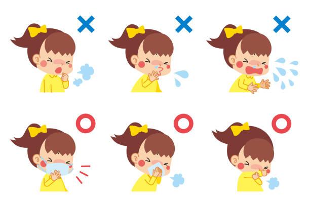 病気と子供 - くしゃみ 日本人点のイラスト素材/クリップアート素材/マンガ素材/アイコン素材