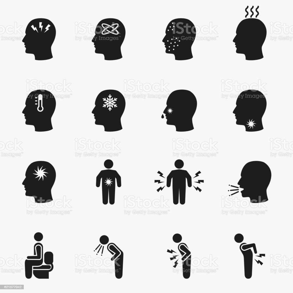 Diseases and sick icons vector art illustration