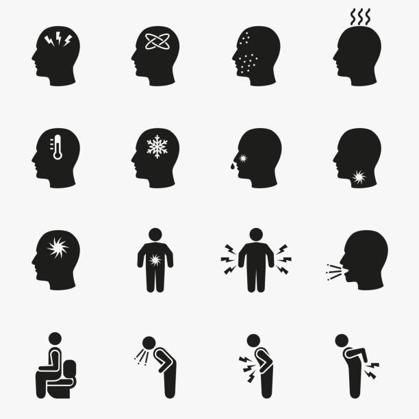 Diseases and sick icons Diseases and sick icons. Vector set of symptom headache and fever illustration fever stock illustrations
