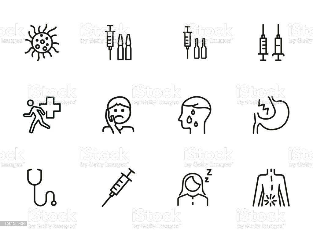 Diseases line icon set