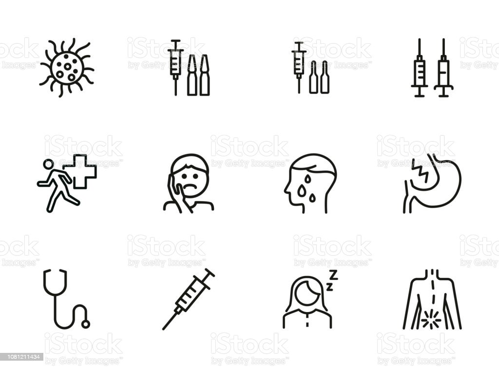 Diseases line icon set vector art illustration