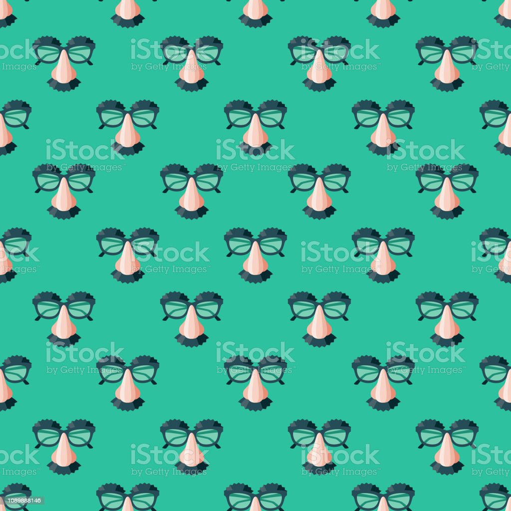 Disguise April Fools' Day Seamless Pattern vector art illustration