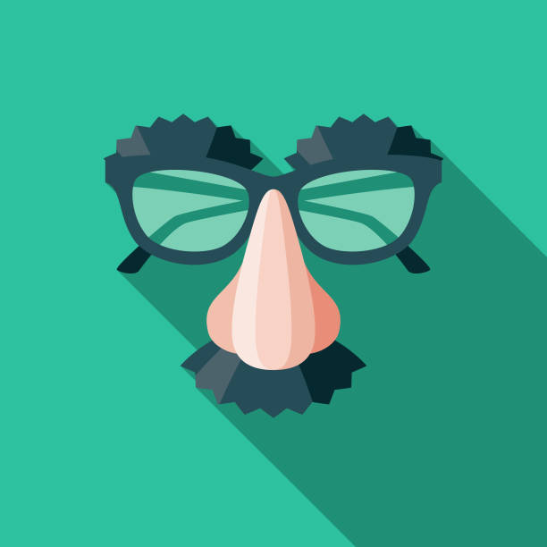 Disguise Flat Design April Fools Day Icon A flat design styled icon with a long side shadow. Color swatches are global so it's easy to edit and change the colors. artificial stock illustrations