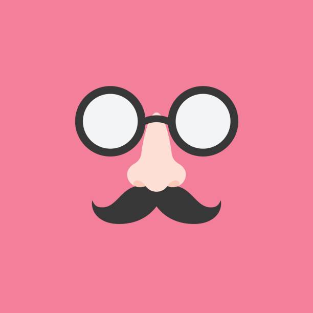 disguise glasses, nose and mustache for party, flat design icon - nos stock illustrations