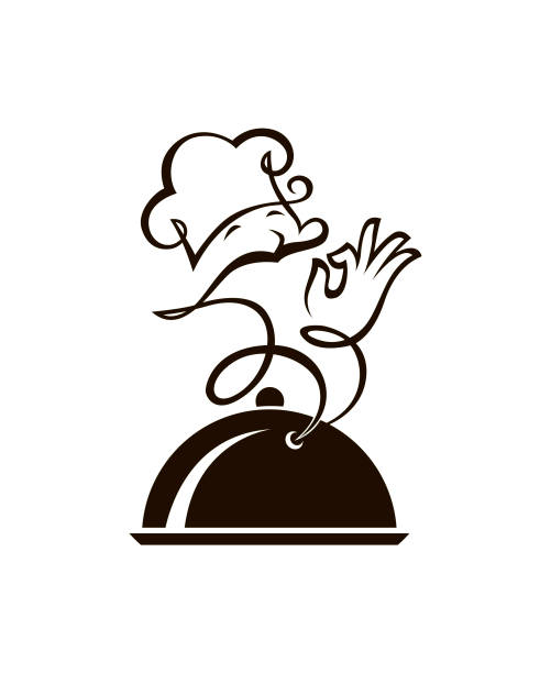 dish and cook monochrome illustration of a plate with steam as the cook cooking clipart stock illustrations