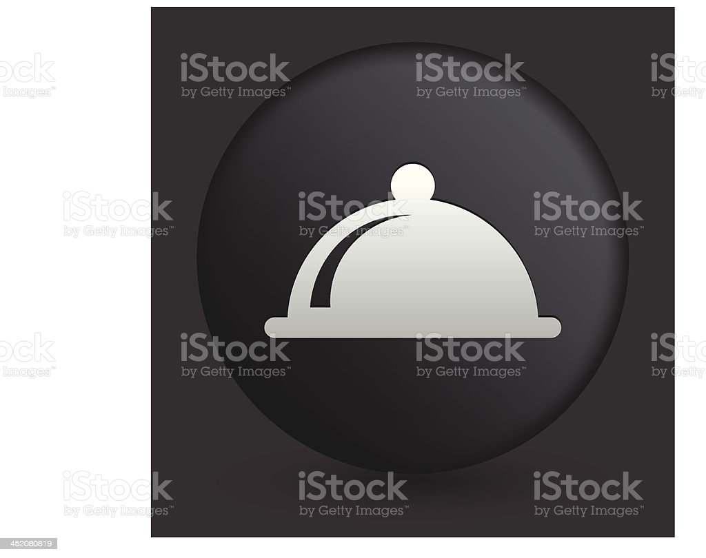 Dish Cover Icon on Round Black Button royalty-free stock vector art