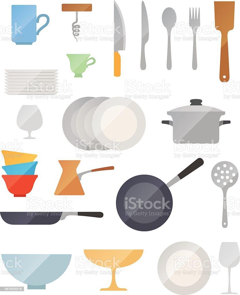 Dish flat vector set vector art illustration