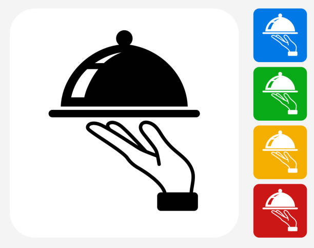 Dish Icon Flat Graphic Design vector art illustration