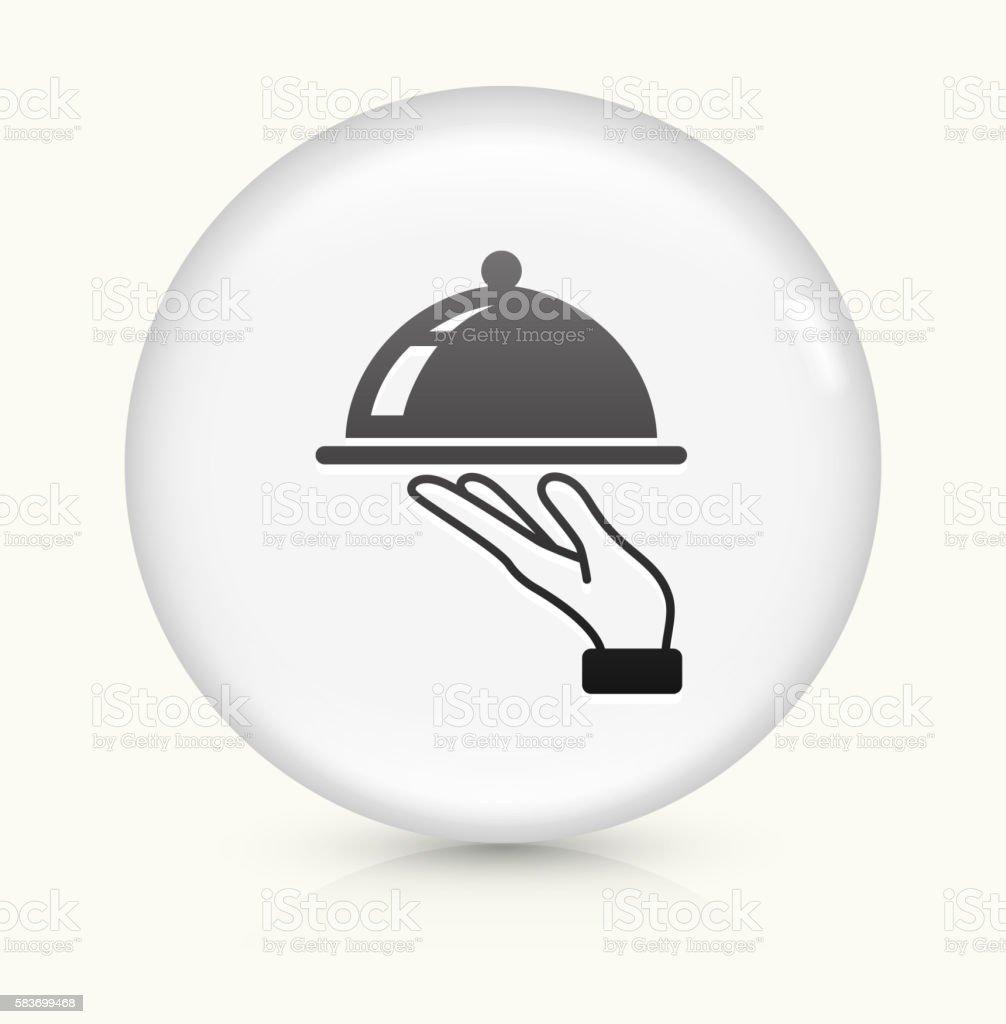 Dish icon on white round vector button vector art illustration