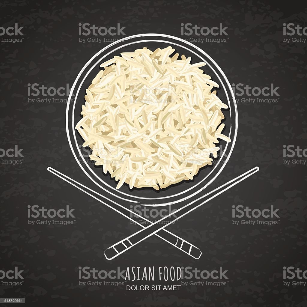 Dish of boiled white rice and chopsticks on chalkboard background. vector art illustration