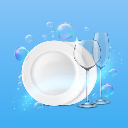 Dish wash. Realistic shiny dishes cleanness, fresh porcelain plates and wine and champagne glasses, soap bubbles around. Tableware after washing vector dishwashing isolated concept
