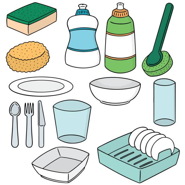 geschirrspüler-ausrüstung - waschküchendekorationen stock-grafiken, -clipart, -cartoons und -symbole