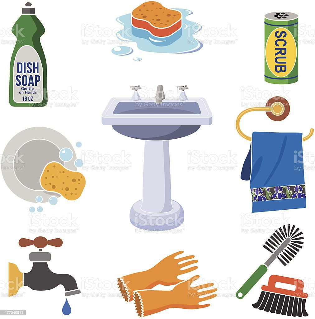 dish washing icon set in color vector art illustration