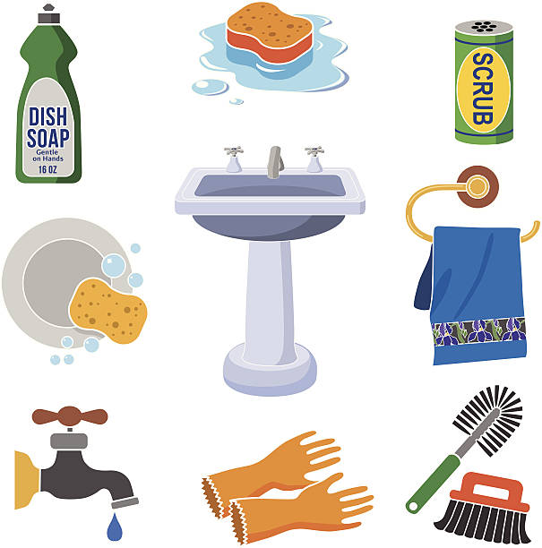 Best Washing Dishes Illustrations Royalty Free Vector: Best Clean Dishes Sink Illustrations, Royalty-Free Vector