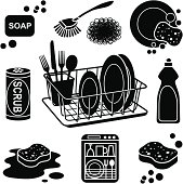 Vector icons with a dishwashing theme.