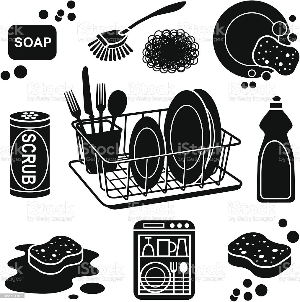 dish washing icons vector art illustration