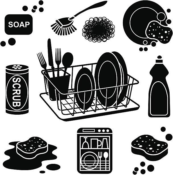 ilustrações de stock, clip art, desenhos animados e ícones de ícones de lavar loiça - loiça