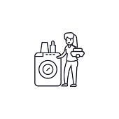 dish washing machine vector line icon, sign, illustration on background, editable strokes