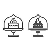 Dish with glass top and cake line and solid icon, bakery concept, cake stand with dessert sign on white background, cupcake in glass container icon in outline style for mobile, web. Vector graphics