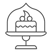 Dish with glass top and cake thin line icon, bakery concept, cake stand with dessert sign on white background, cupcake in glass container icon in outline style for mobile, web. Vector graphics