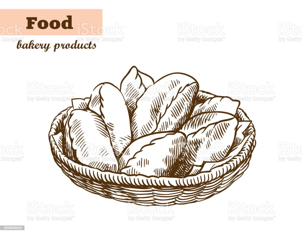 dish with pies. homemade baking. bakery products. vector sketch on white vector art illustration