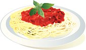 Dish with spaghetti and tomato sauce on top