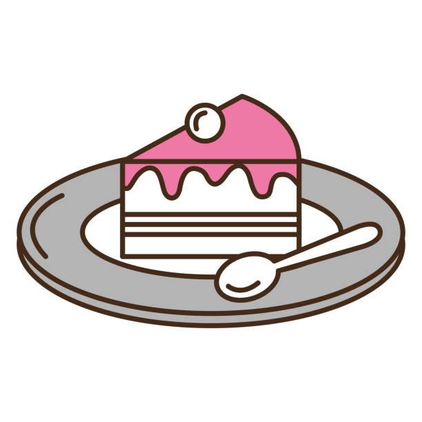 甘いケーキ皿し、スプーン - プリン スプーン点のイラスト素材/クリップアート素材/マンガ素材/アイコン素材