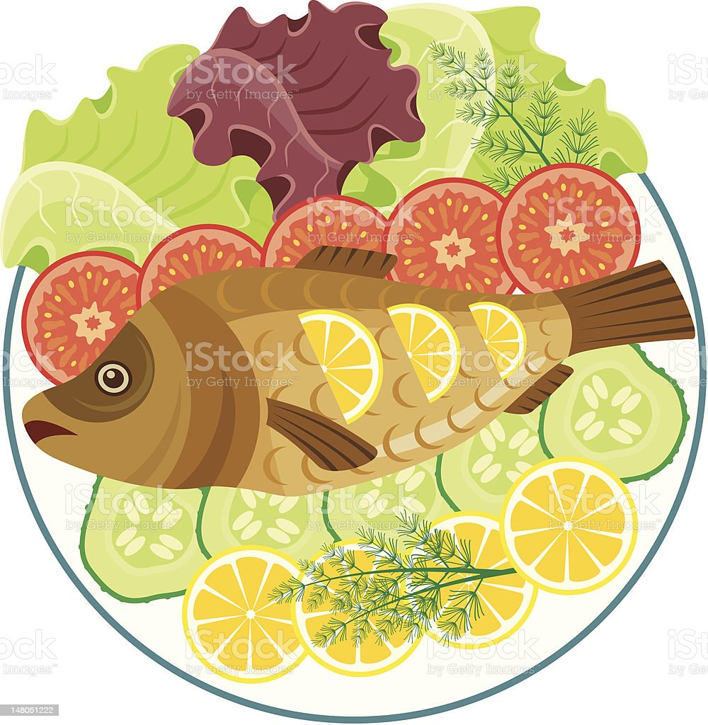 Dish with the baked fish royalty-free dish with the baked fish stock vector art & more images of baked