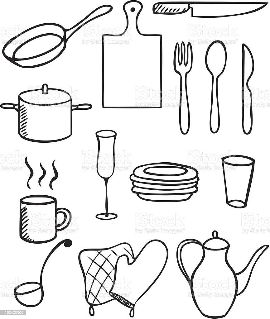 Kitchen Design Drawing With Color: Arte Vectorial De Stock Y Más Imágenes De Blanco