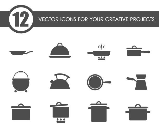 dishes icon set dishes vector icons for your creative ideas frying pan stock illustrations