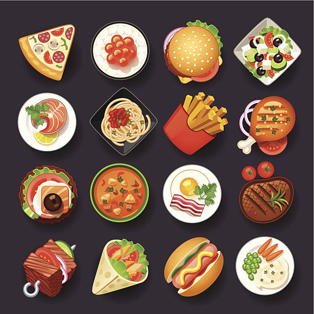 dishes icon set - food and drink stock illustrations, clip art, cartoons, & icons