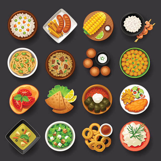 dishes icon set-4 dishes icon set-4 on grey background stuffed stock illustrations