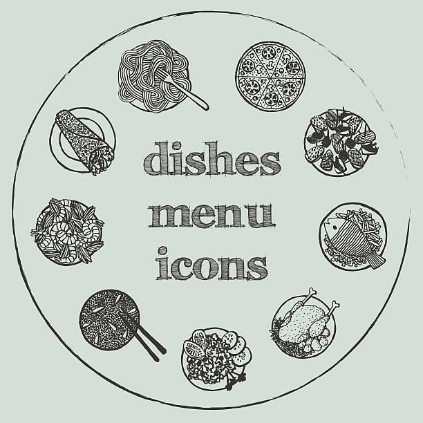 illustrations, cliparts, dessins animés et icônes de menu de plats de hand-drawn icon set - risotto