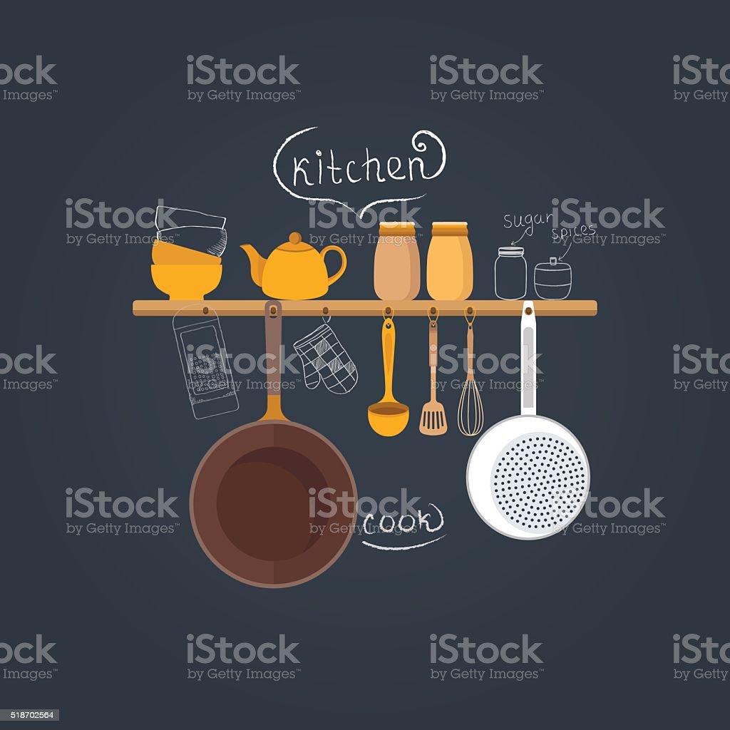 Dishes on a chalkboard vector art illustration